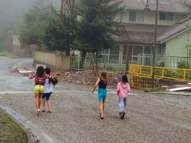 Kylee and her friends running around the neighborhood, footloose and fancy-free.