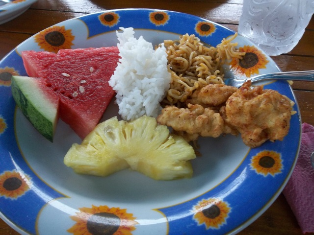 The food was one of my favorite parts of the trip.  It was made and eaten on the boats.  We probably ate 3 whole watermelons every day (look at the way they cut them into arrow shapes)!