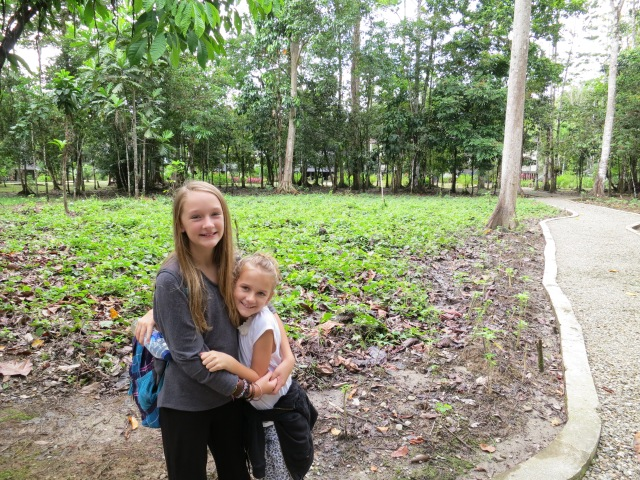 My two little jungle monkeys enjoying a short walk around the property of the Rimba Resort in Timika.