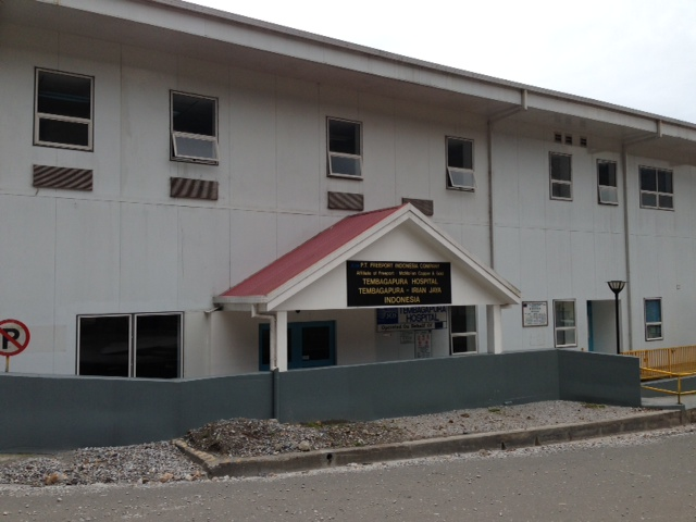 This is a picture of the Tembagapura Hospital (front view).  Its directly across the street from Kops.  When Kylee was in the hospital, her room was the third window from the left .