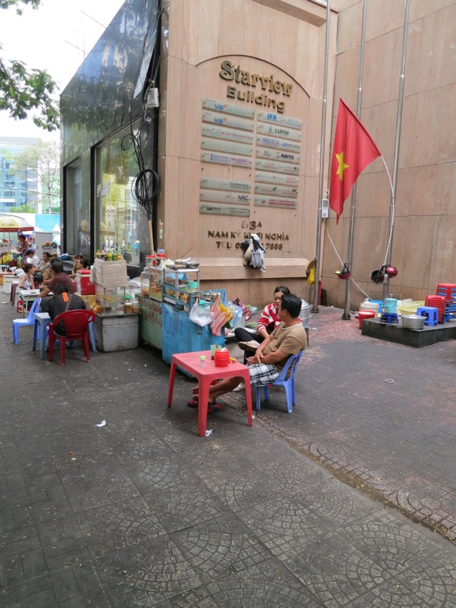 Street kitchens are an essential part of city life in Saigon.   They are everywhere!