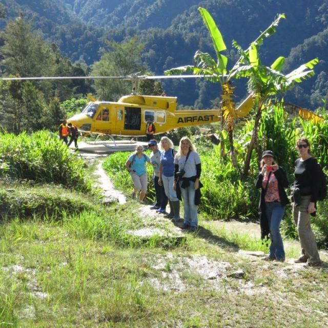 A final picture of the group before boarding the chopper and heading back to Tembagapura.  Photo by Geoff Hocking