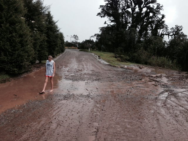 By the time Ally and I got up, most of the roads had been cleared off.  All that remained on this road was a wet, muddy mess.