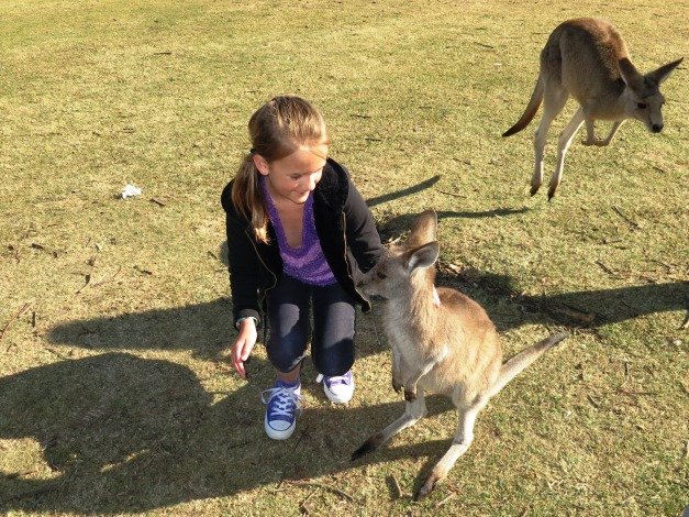 Kylee hanging out with a couple of kangaroos.