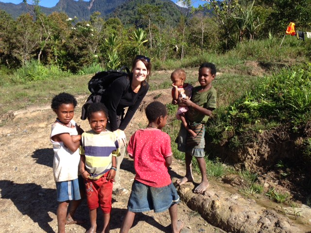 A quick picture with a group of kids before continuing on through the village.