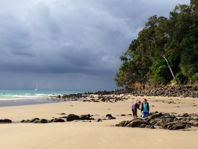 The girls enjoying the beach in Noosa Heads.