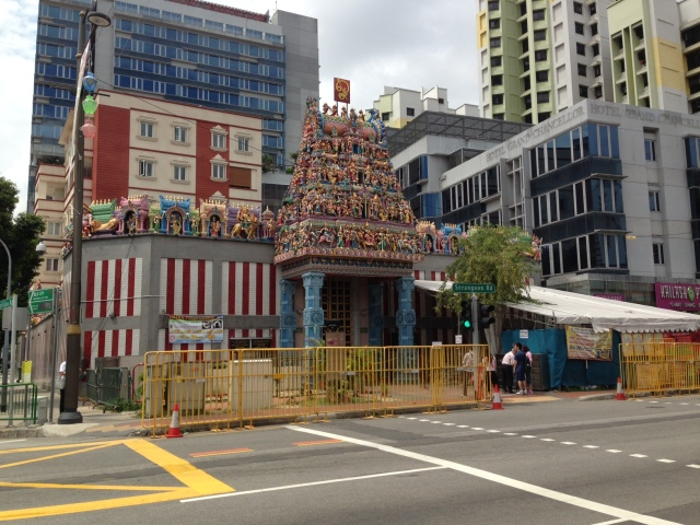 An ornate Hindu temple in Little India.