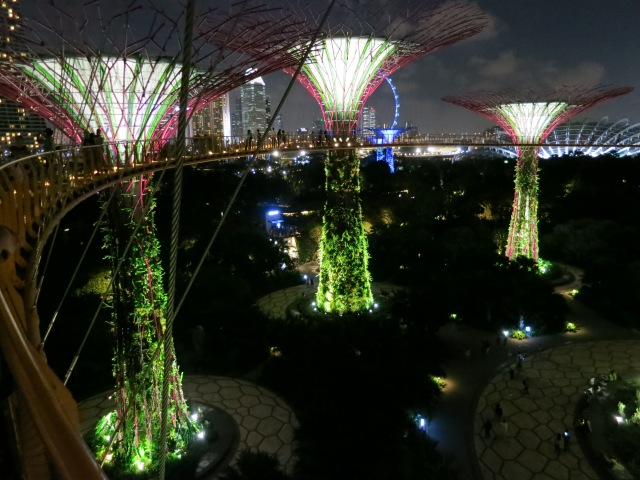 The Super Trees at the Gardens at the Bay at dusk.