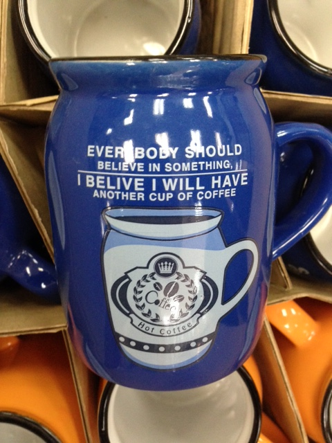 The department store just received a new shipment of coffee mugs. I BELIEVE someone should have used spellcheck before authorizing the final production of this mug.