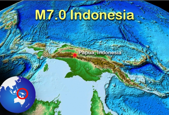 Tembagapura is located in the same mountain range as the epicenter of the earthquake. Tembagaura is slightly west of the red dot. From Earthscope.com