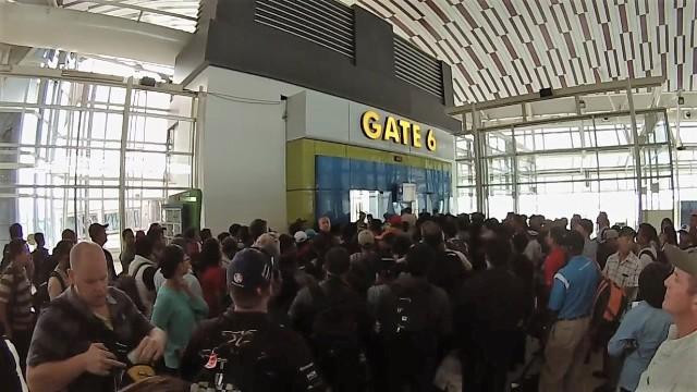 The large crowd of Freepoert employees (and a few family members) waiting to leave Makassar. Gate 6 will always be the most memorable airport gate of our time in Indonesia!