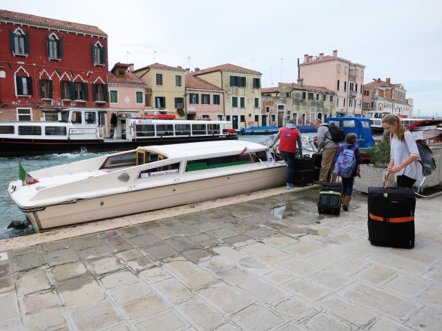 On our last day in Venice, this water taxi picked us up at our hotel and took us to the cruise ship terminal.